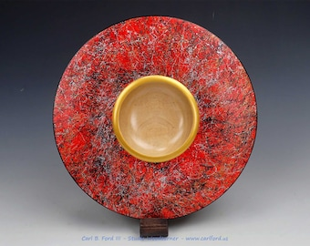 """Spectacular Red Spider Wide Rim Bowl, with Gold, Black and Silver Spider Web Effect, 10-1/4"""" Wide, Semi-gloss Acrylic Finish, Gift"""
