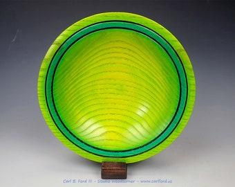 "Delightful Teal Rim Spring Bowl, 8-1/4"" Wide, Ash wood, Teal, Spring Green, Semi-gloss Acrylic Finish, Gift, Birthday, Retirement"