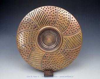 "Captivating Bronze Brick Road Wide Rim Bowl, Maple Wood, 10"" Wide, Semi-gloss Acrylic Finish, Gift, Fathers Day, Graduation"