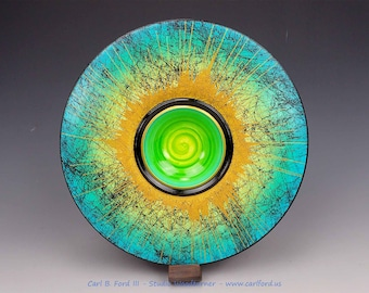 Turquoise Spring Wide Rim Wood Bowl
