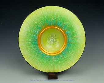 """Glorious Yellow Spring has Sprung Wide Rim Bowl, with Gold Rim, White Center Spiral, 9-1/2"""" Wide, Semi-gloss Acrylic Finish, Gift"""