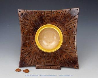 "Dramatic Bronze Sun Square Wide Rim Bowl, 10"" Wide, Maple wood, Semi-gloss Acrylic Finish, Gift, Birthday, Retirement, Graduation"