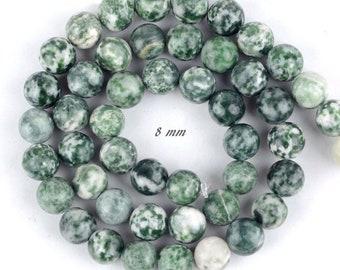 8 10 mm Green spot stone natürliche Edelstein Perlen grün rund Kugel 4 6