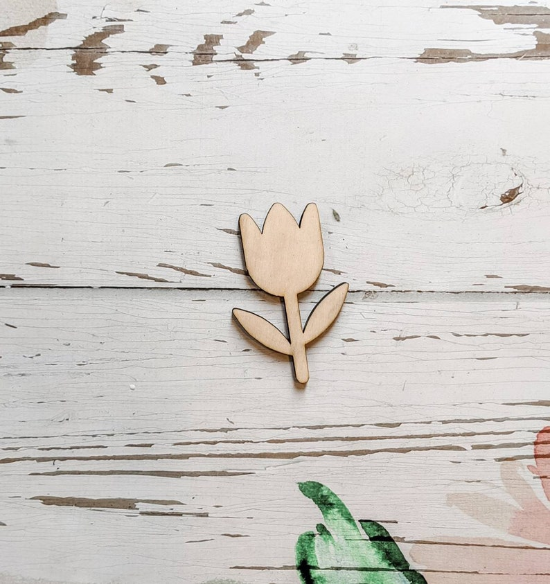 3 inch Kids Crafts laser cut shape Spring TULIP SHAPED Unfinished 14 Wood Wooden Blanks- Wooden Shapes
