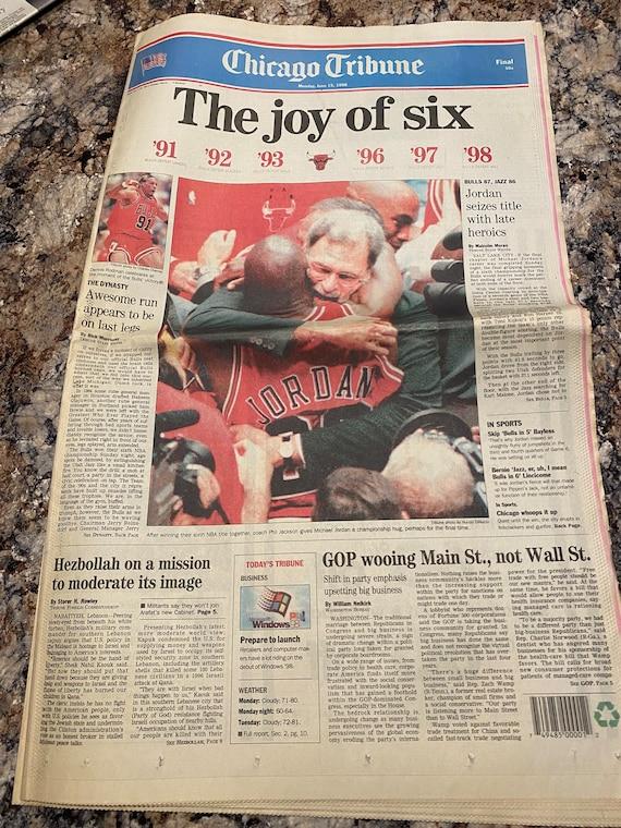 "Michael Jordan Chicago Bulls 1998 NBA Championship (FULL)  Chicago Tribune NEWSPAPER ""The Joy of Six It is dated June 15th. 1998"