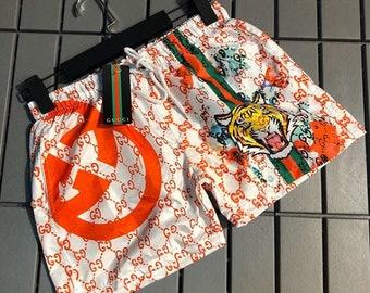 Mens Deer Thanksgiving Pattern Shorts Elastic Waist Pockets Lightweight Beach Shorts Boardshort