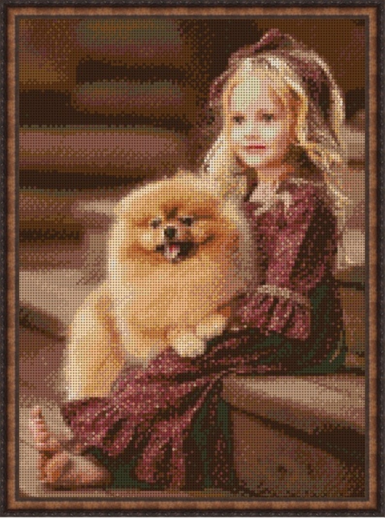 girl dog bead stamped embroidery pattern Needlepoint Beading beadwork puppy Bead Embroidery Kit baby DIY picture beads cross stitch