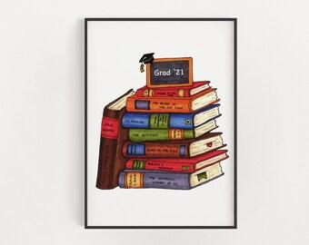 Customizable Grad Print - Favourite Books | Stack of Favourite Books Print | Customizable Graduation Gift | 8x10 Art Print