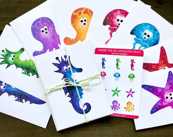 8 Assorted Sea Creature Notecard Set | Assorted blank cards | Cards and Envelope Set | Envelope Seal Stickers | Set of Blank Greeting Cards