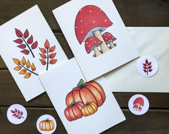 Blank Fall Notecard Set - 3 Cards, Envelopes & Envelope Seal Stickers | Assorted blank cards | 3 Pack Greeting Cards | Autumn Cards