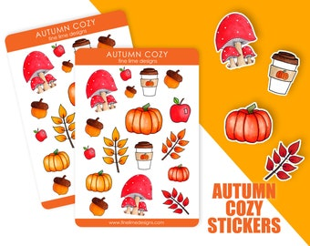 Cozy Autumn sticker sheet | Fall Stickers | Fall Planner Stickers | Autumn Pen Pal Sticker Sheet | Fall Scrapbooking Stickers