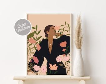 PRINTABLE Wall Art, Woman Illustration Print, Fashion Illustration, Bohemian Print, Girl Art, Wall Decor, Flower Decor, Boho Decor