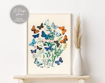 Vintage Butterfly Print, Butterfly Illustration, Botanical Prints, Retro Butterfly Drawing, Bedroom Decor, Nursery Wall Art, Flower Art
