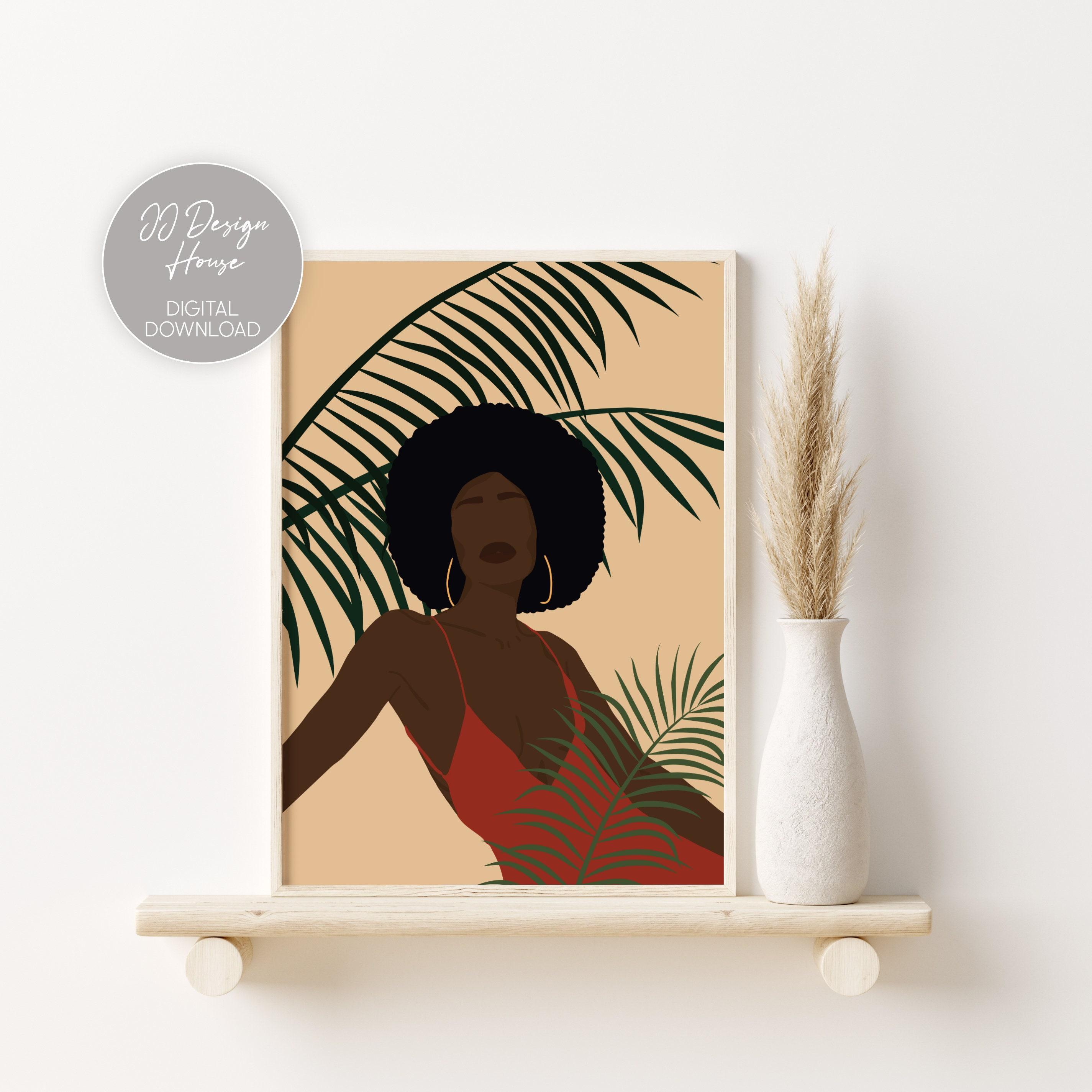 DIGITAL DOWNLOAD Black model Poster Set of 6 prints black Woman Print Minimalist Woman Art Black Woman wall Art Boho Wand Dekor