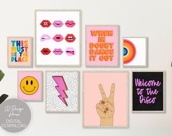 Retro Wall Art Set of 8, Trendy Art Print Bundle, Dorm Wall Decor, Throwback Art Prints, DIY Wall Decor, Boho Art Set of 8 Prints Bundle