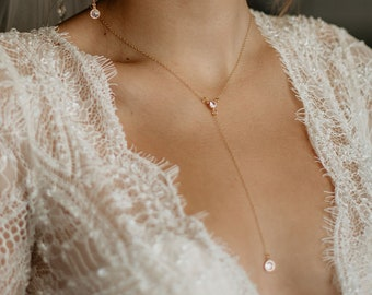 Bride Necklace, Minimal Wedding Jewelry, Cubic Zirconia Lariat, Y Necklace, Bridal Accessories, Gold Filled Necklace, Simple, Dainty. TONYA