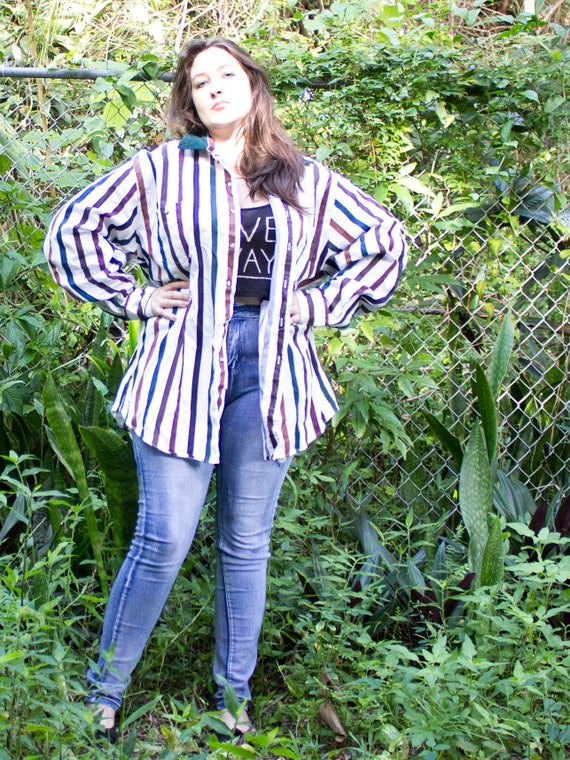 Oversized Button up shirt { 80s Vintage } Colorful