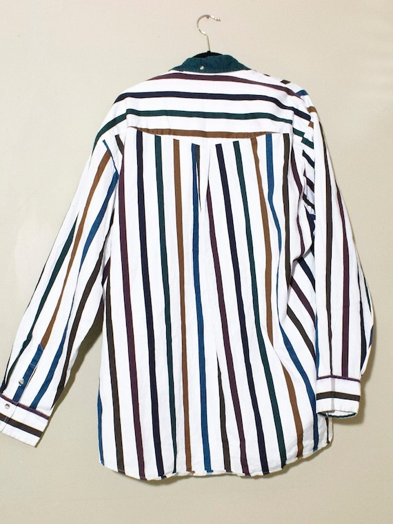 Oversized Button up shirt { 80s Vintage } Colorfu… - image 7