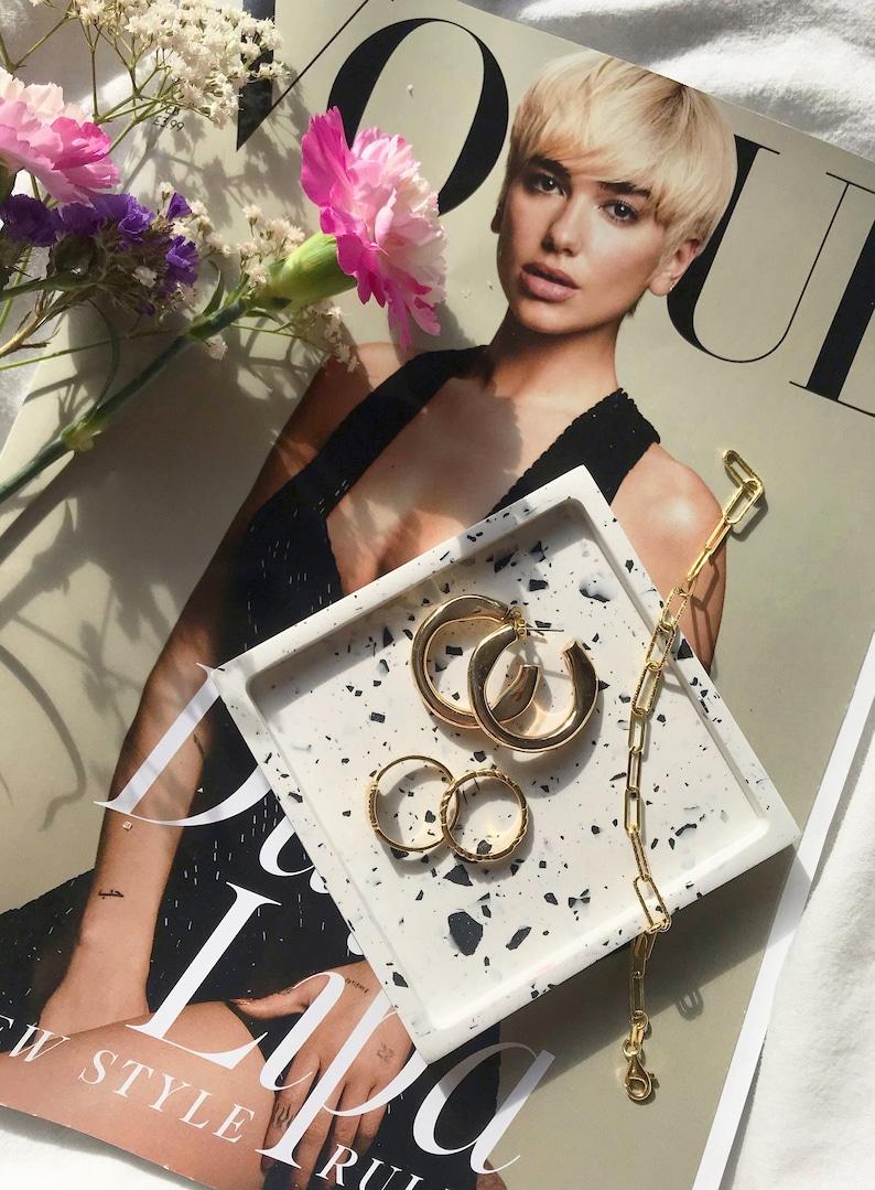 Handmade Jesmonite Square Jewelry Ring Tray Holder Black and White Terrazzo Coaster Trinket Dish