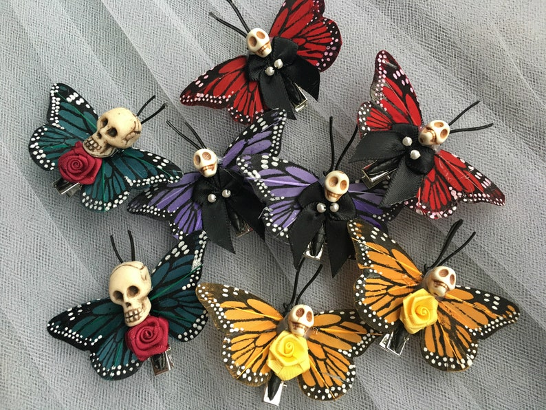 Gothic Hair Accessories Skull Butterfly Hair clips Butterfly Clips Day of the Dead 1 PAIR of Orange Skull Barrettes