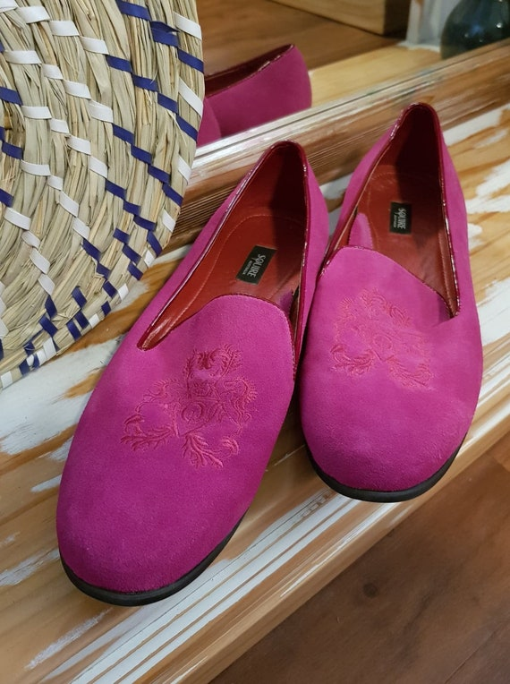 Hot Pink Embroidered Loafers