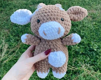 Mini Chocolate Cow Plushie | Crochet Cow Plush
