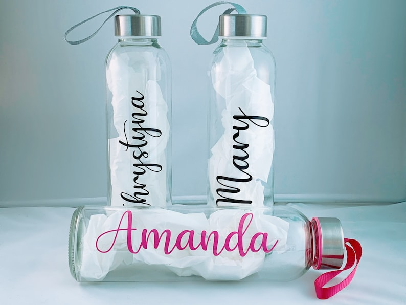 Personalised Name Glass Drinks Bottle 500ml Custom Wedding And Anniversary Gift Personalized Eco Friendly Glass Water Bottle