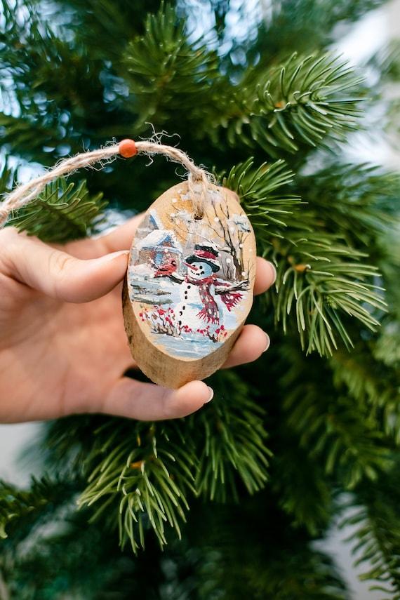 Rustic Wood Slice Snowman Christmas Ornament