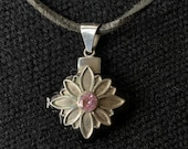 Peruvian Silver Chakana necklace with semi precious gemstone and petal detail