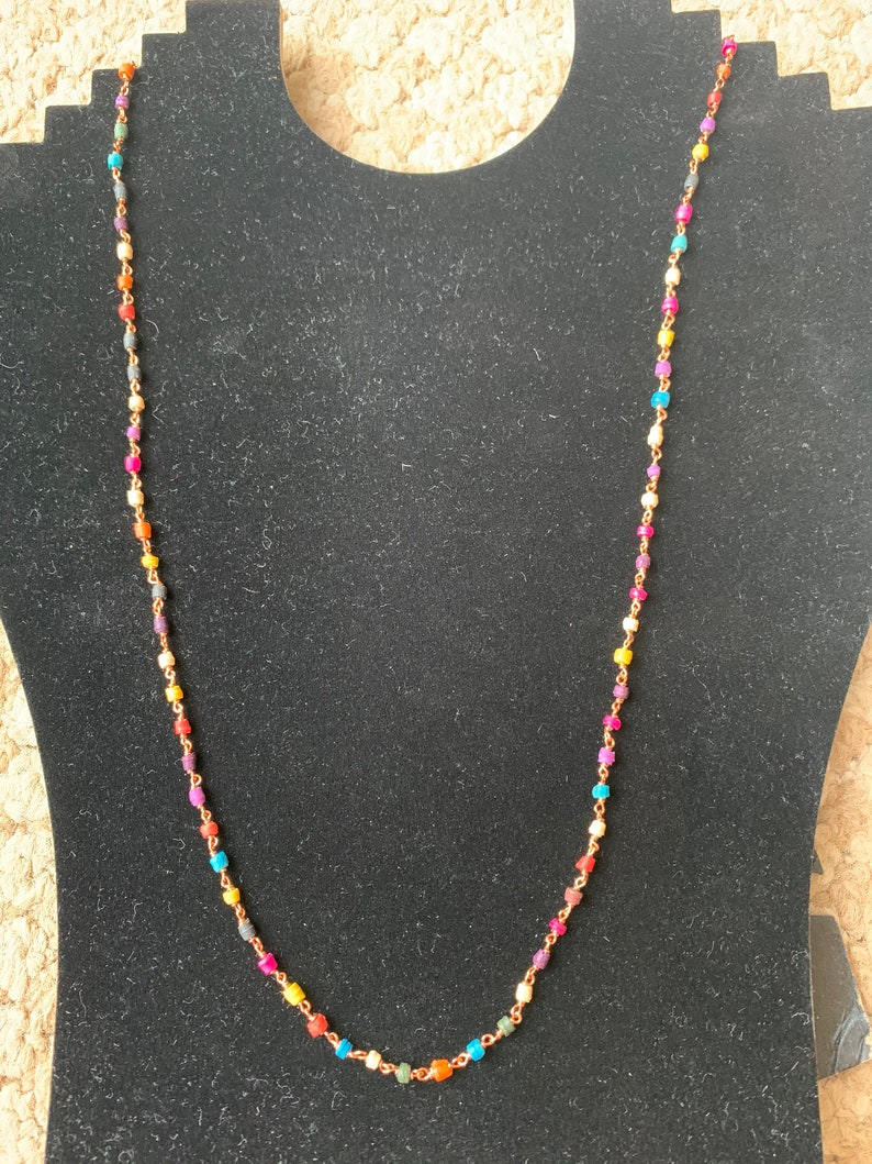 Indian Delicate bead and brass necklace handmade and blessed image 0