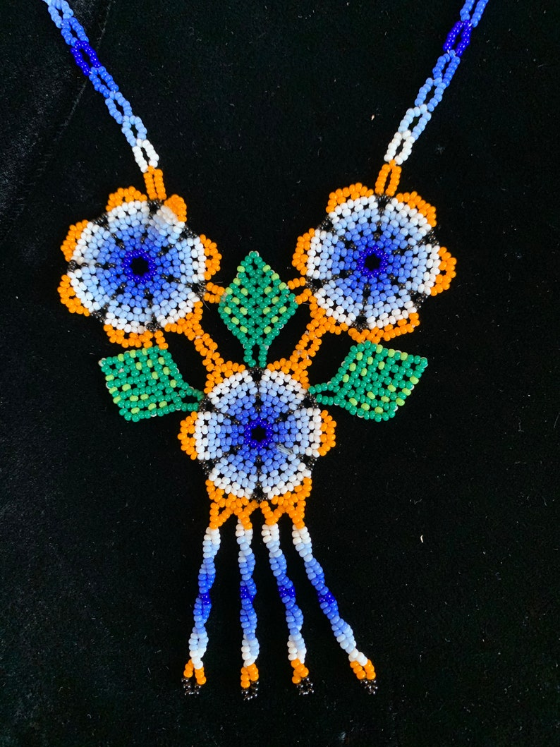 Huichol indigenous prayer necklace from Mexico image 0