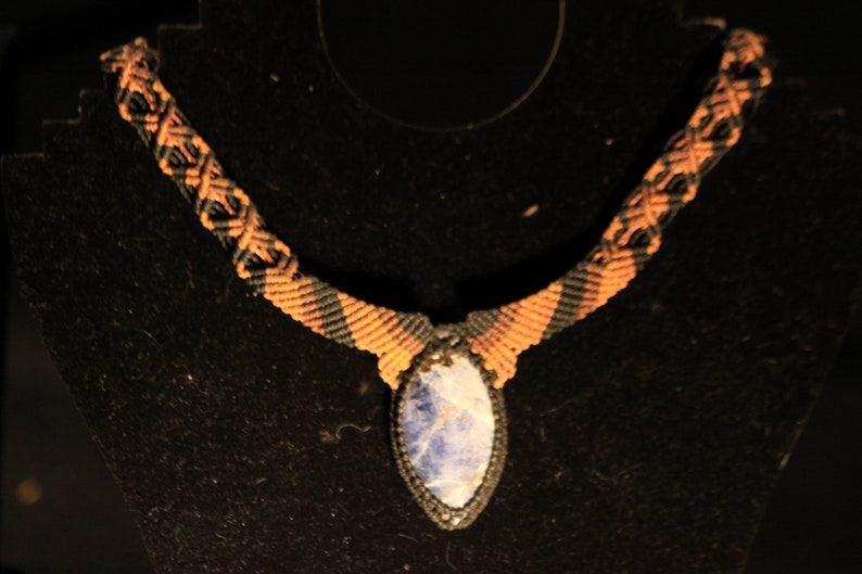 Indigenous necklace with natural Sodalite crystal from Peru image 0