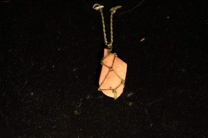 Indigenous necklace with natural Rhodonite crystal from Peru image 0