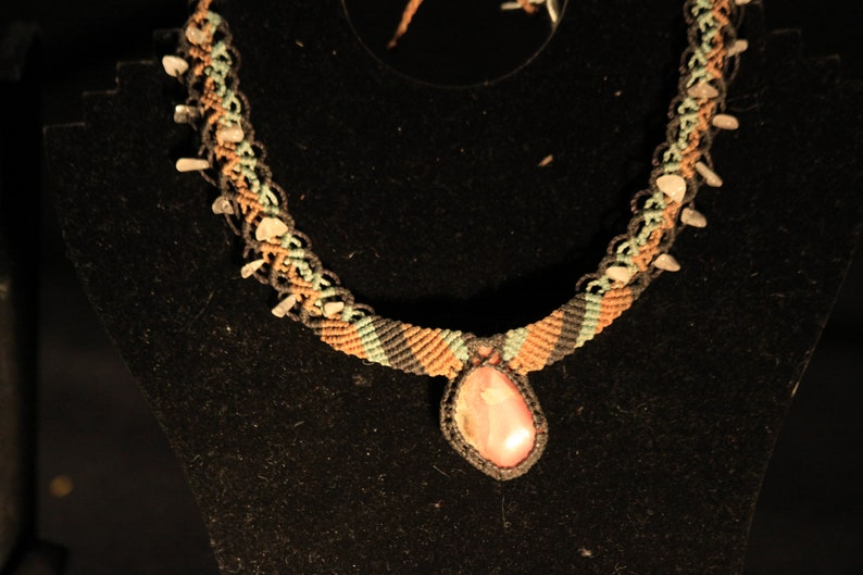 Indigenous necklace with natural Rhodochrosite crystal from image 0
