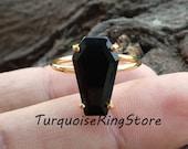 Black Onyx Ring, Coffin Ring, Handmade Ring, Statement Ring, Gemstone Ring, 925 Silver Ring, Boho Ring, Stone Ring, Women Ring, Gift For Her