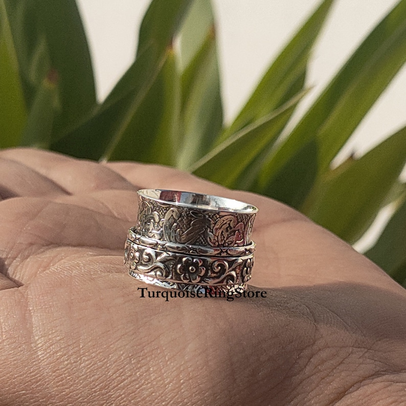 Three Band Ring Fidget Jewelry Spinner Ring Personalized Ring Women Ring 925 Silver Ring Handmade Ring Worry Ring Promise Ring