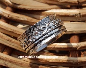 Spinner Ring, Anxiety Ring, Fidget Ring, Boho Ring, Thumb Ring, Worry Ring, 925 Silver Ring, Spinning Ring, Women Ring, Gift For Her