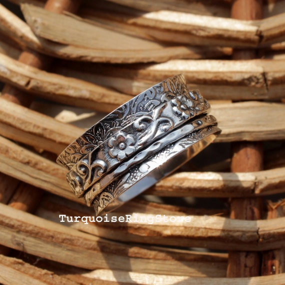 Thumb Ring Heart Ring Spinner Band Dainty Ring Gypsy Ring Women Ring Gift Ring Ab5 Anxiety Ring Worry Ring Bohemian Ring Spinner Ring