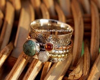 Turquoise Ring, Gemstone Ring, Moonstone Ring, Garnet Ring, Handmade Ring, Spinner Ring, Anxiety Ring, Fidget Ring, Women Ring, Gift For Her