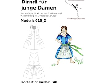 016_D paper sewing pattern for a childrens' dirndldress