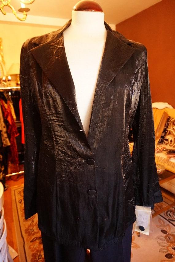 90s black silk blazer medium   shiny minimalist bl