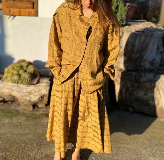 Boho chic 1990's skirt suit