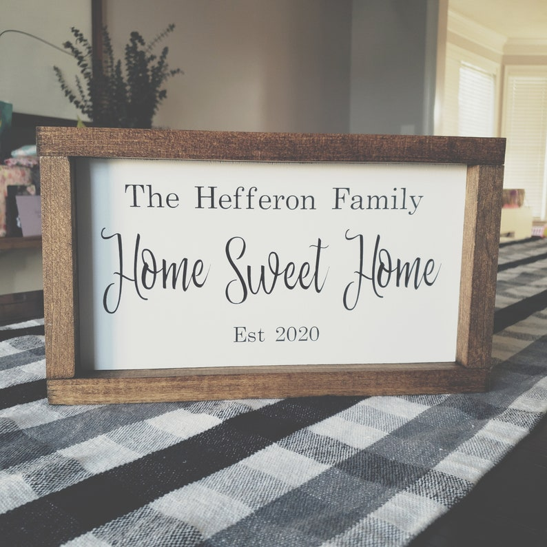 Farmhouse Decor Rustic Wooden Sign Custom Family Name Sign Farmhouse Sign Rustic Home Decor Custom Home Sweet Home Sign Closing Gift