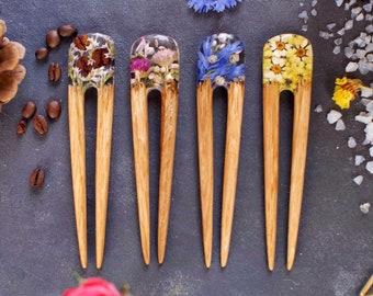Resin wood hair stick Bun holders Haarnadel f\u00fcr langes haar Wooden hair stick Gifts for women Wooden resin Epoxy wood jewelry Hair fork