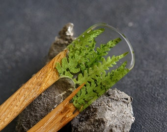 Terrarium Wood Hair Fork, Resin Hair Stick, Wood HairPin with Bracken, Green Hairpin, Accessories for Hair, Resin Wood Jewelry, Gift for Her