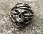 Viking Silver Ring 316L Premium Stainless Steel Thorns Skull Silver Skull Rings