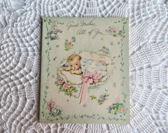 Vintage Mid Century Unused Greeting Card Congratulations On Your Anniversary