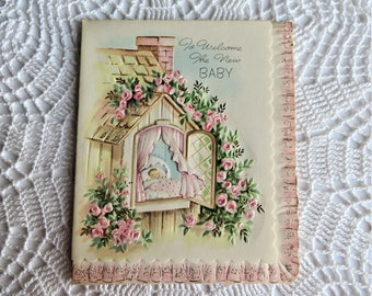 Vintage Newborn Baby Card Styled Like a Photo Album with Silver Embellished Cut-out Congratulations Card for New Parents Made in USA