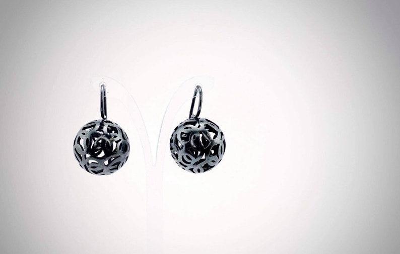 Silver Ball Earrings Tiny Round Earrings Artisian Silver Jewelry Matte Sphere Earrings Wire Stud Earrings Anniversary Gift