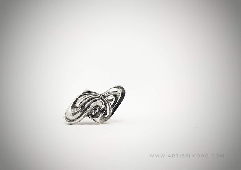 Unique Jewelry Thick Sterling Silver Art Deco Ring Asexual Statement Ring